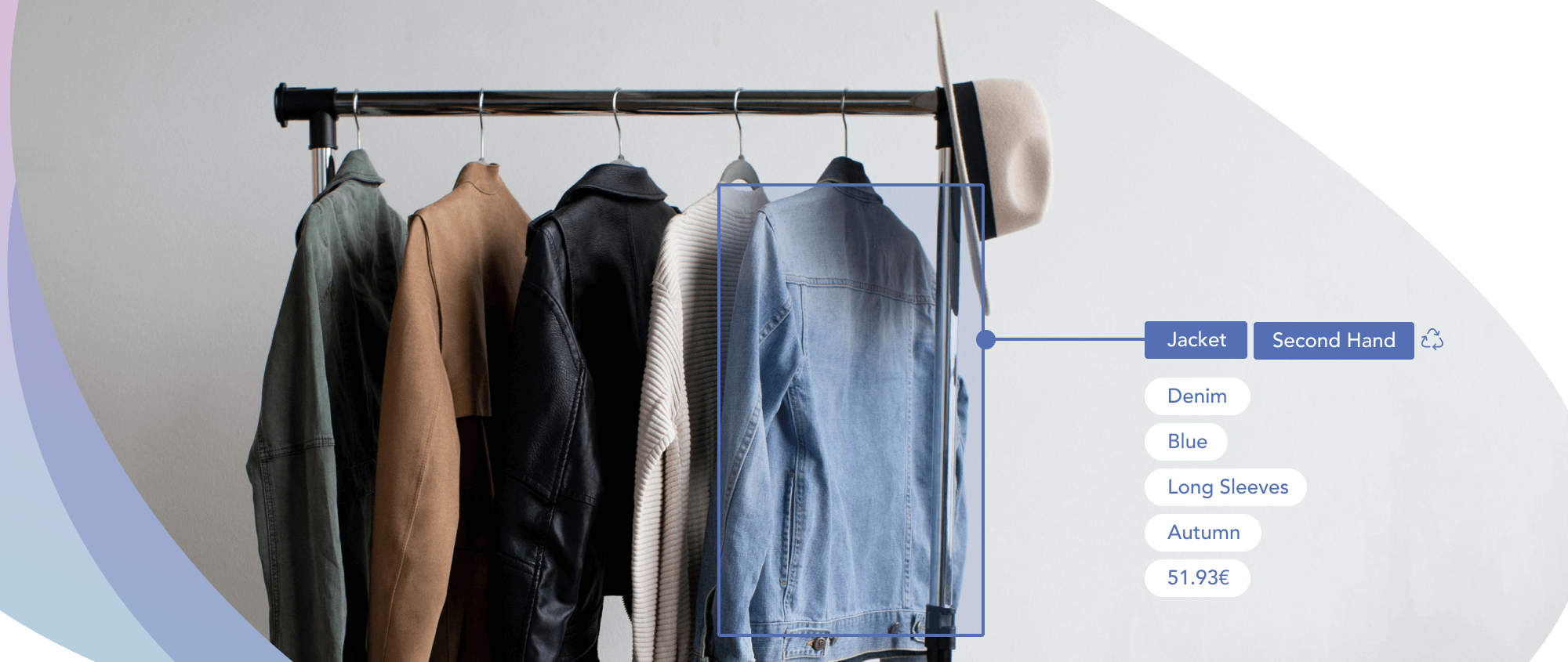 Image of a clothing rack showing jackets and automated tags for one denim jacket