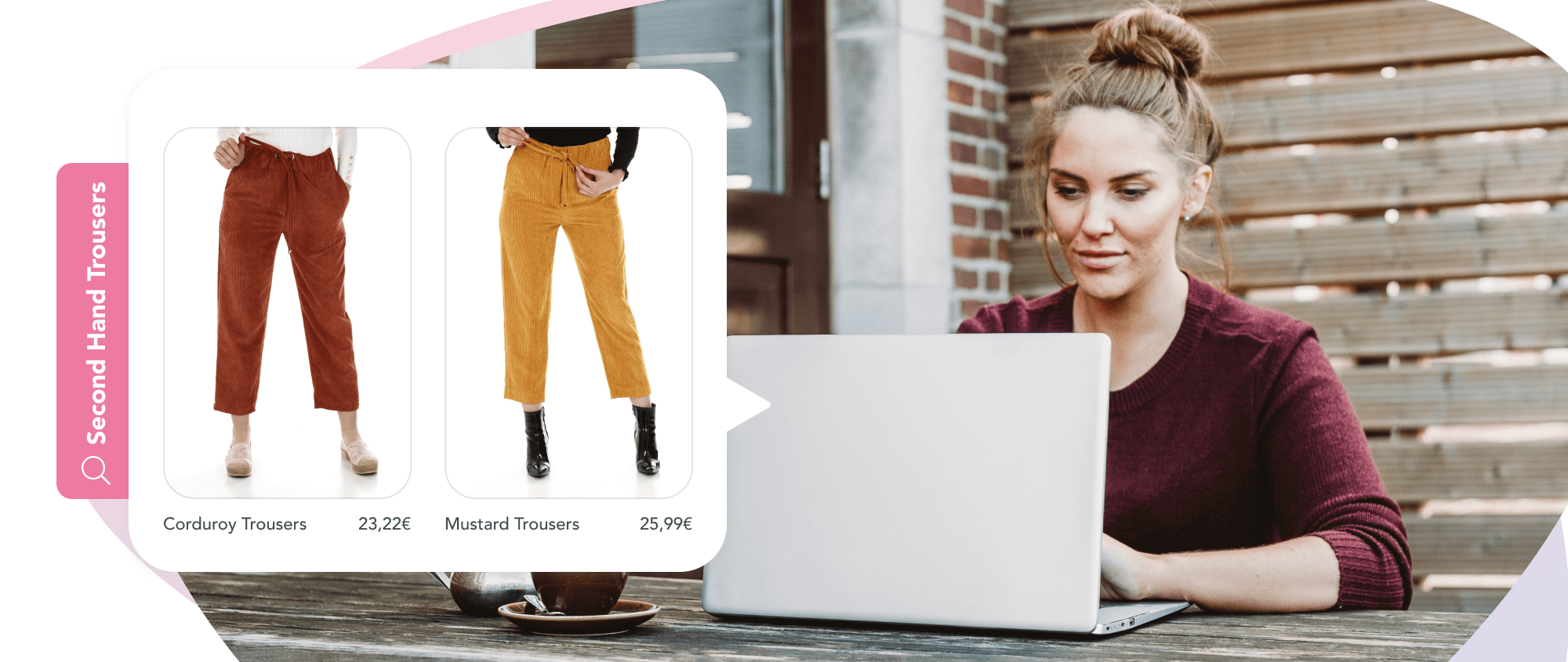 Girl browsing on her laptop for second hand trousers using visual AI