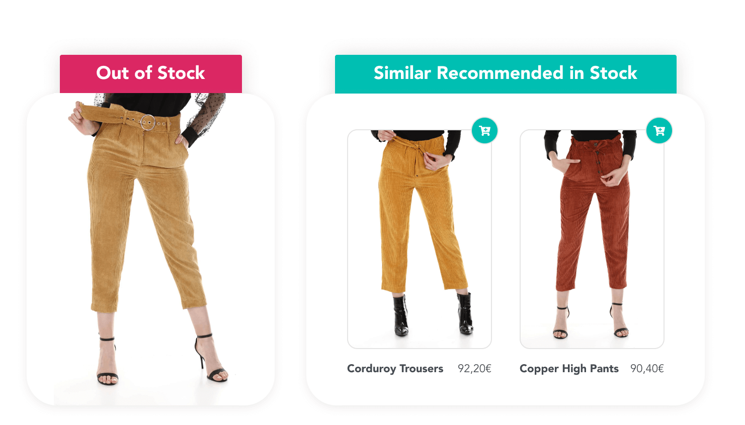 Out of stock trousers with two most similar trousers in stock