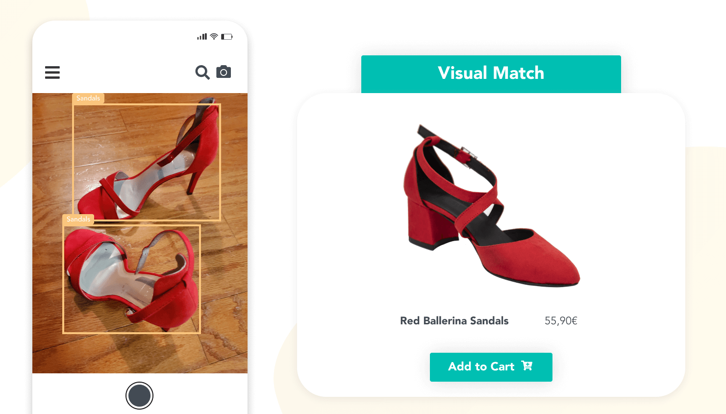 Image of a phone taking picture of red sandals and receiving the most visually similar sandals in store