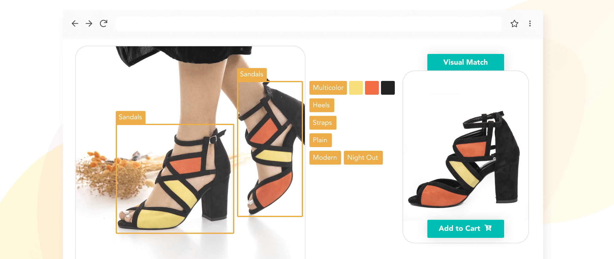 Multicolored sandals with automated tags and one visually similar sandal in stock