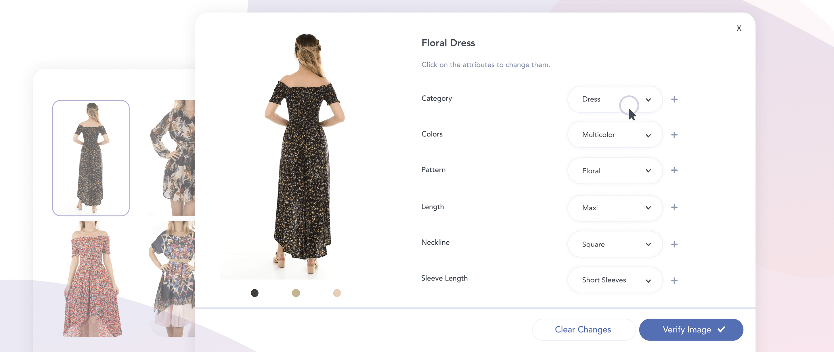 Image of a dress uploaded on Pixyle's dashboard showing automatically generated tags