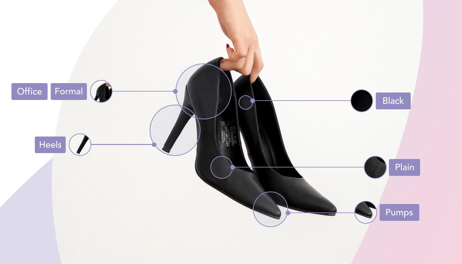 Woman holding black plain heels