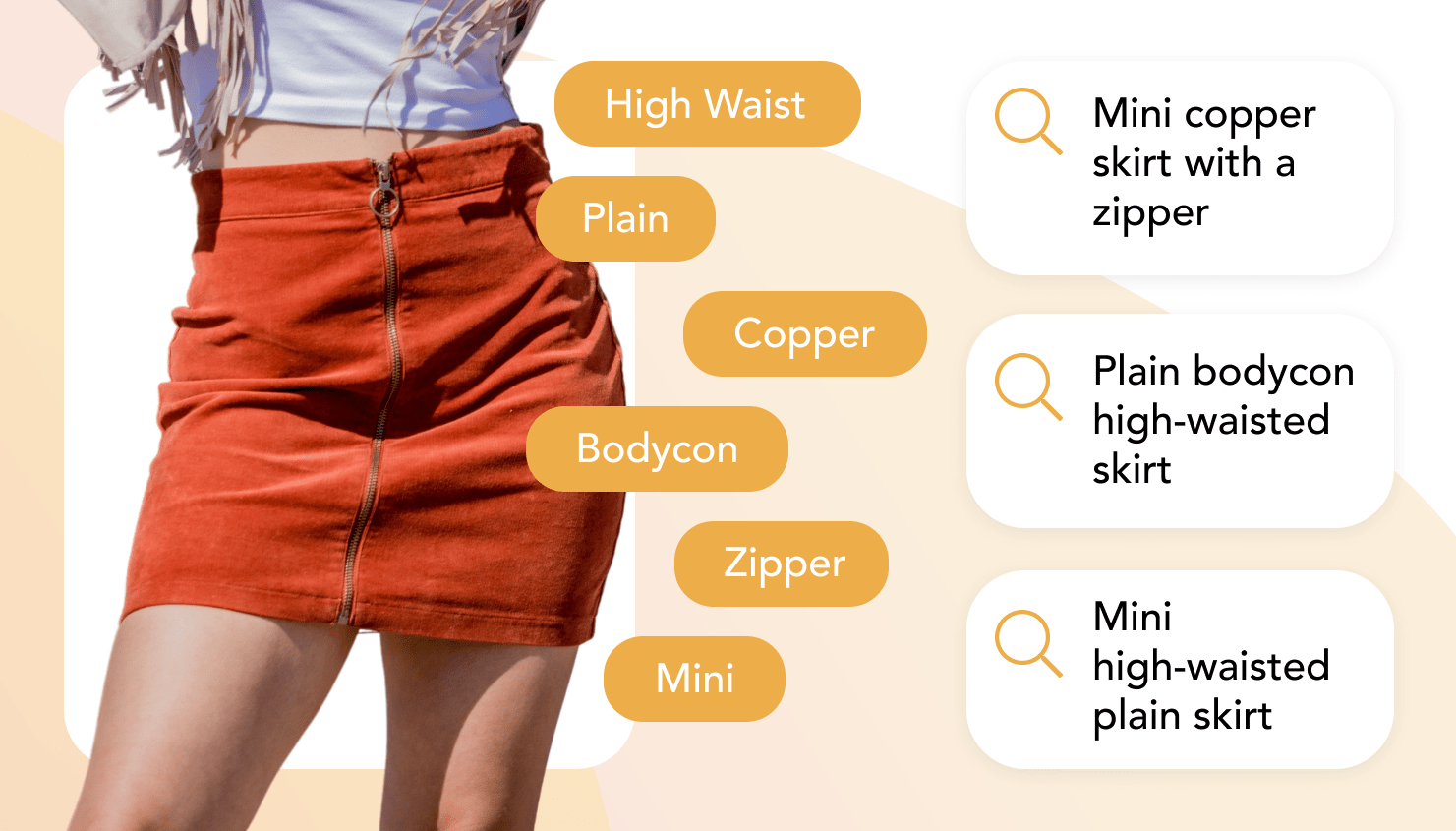 Different search options for a copper mini skirt with automated tags