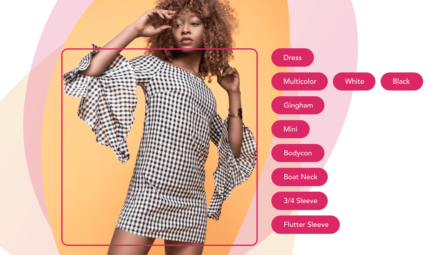 Automatically generated tags for a multicolor mini dress with boat neck