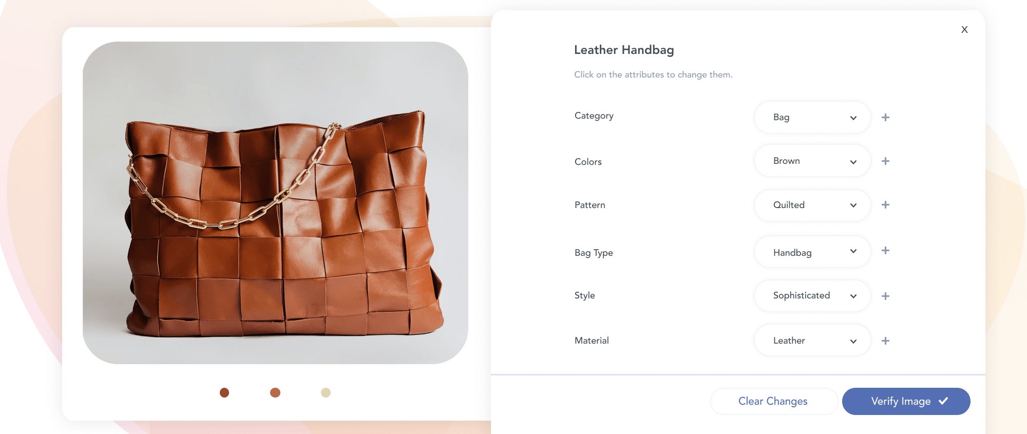 Automatically generated tags for a brown handbag