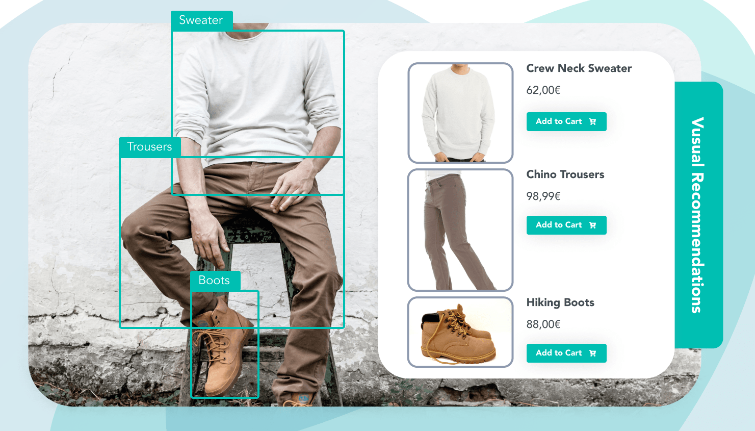 Similar recommendations for a sweater, trousers, and boots