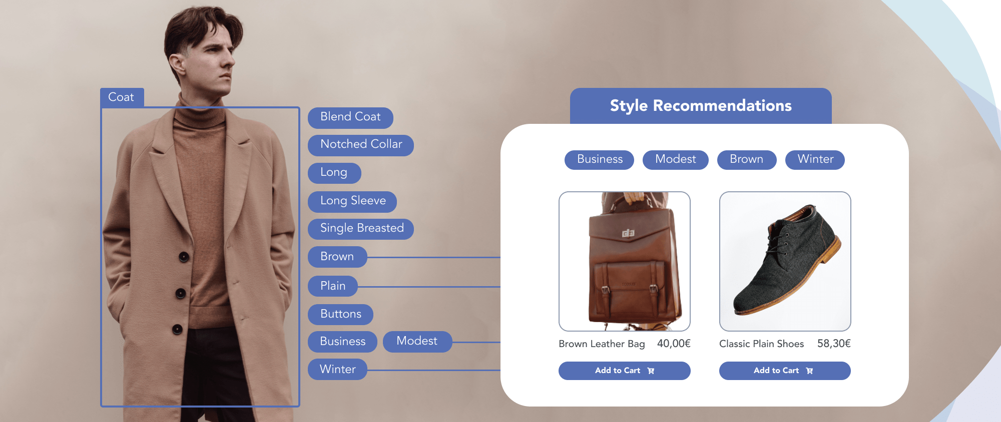 Descriptive tags for long sleeve brown coat, and recommendation brown leather bag and plain shoes to complete the style