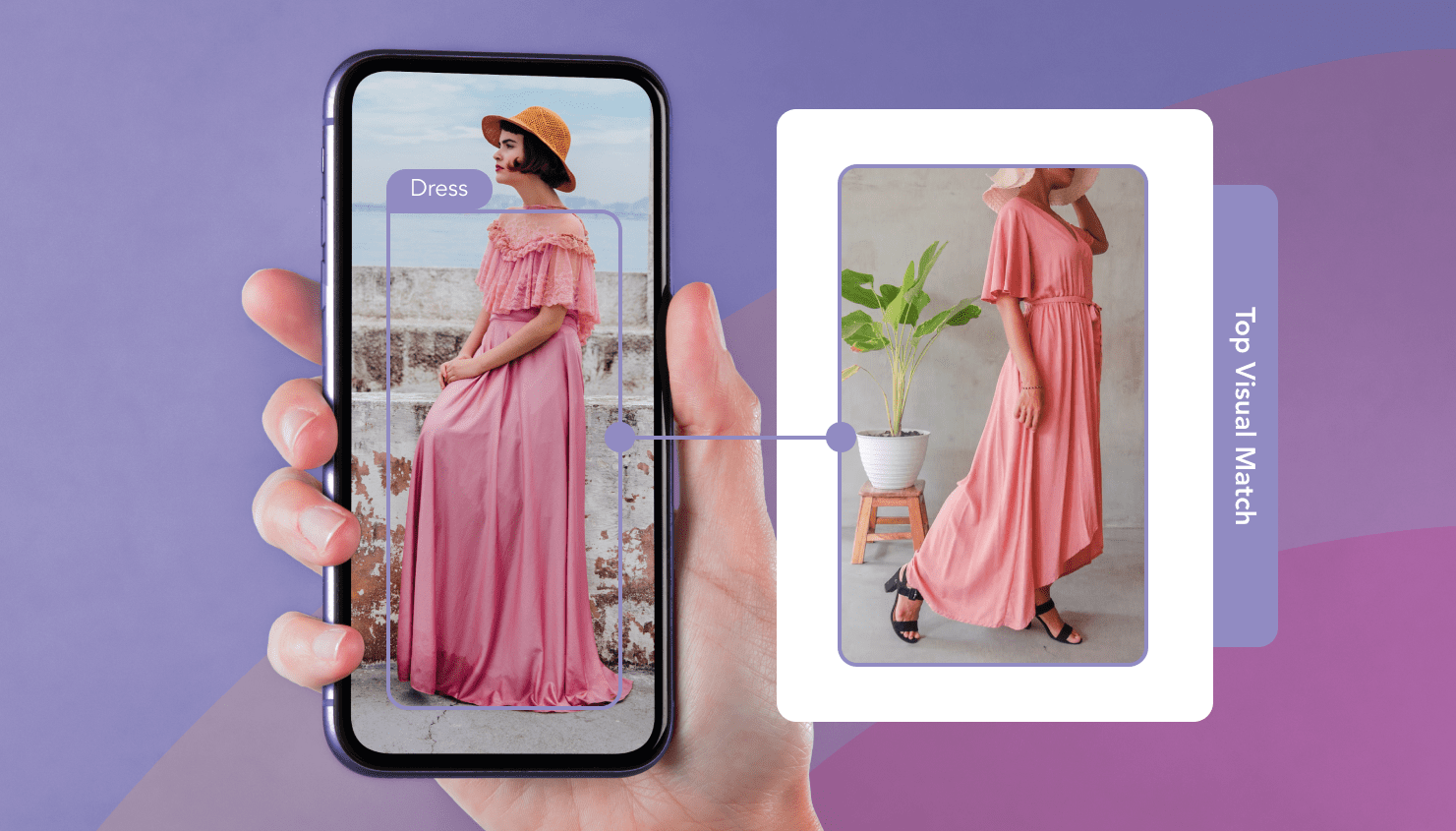 Girl holding a phone looking at a pink dress and a visual match of the pink dress on the right.