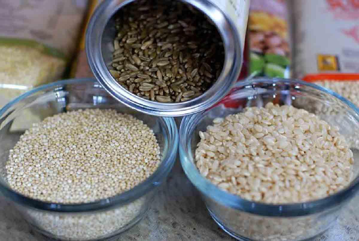 diverse tipologie di riso contenute in alcune ciotole