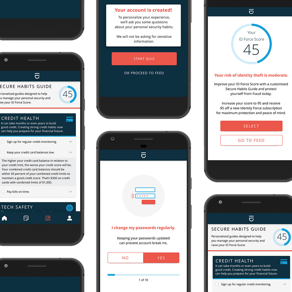 Screenshots of app UI on phone screens.