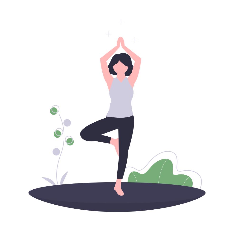 Eine Frau, die Yoga mach.