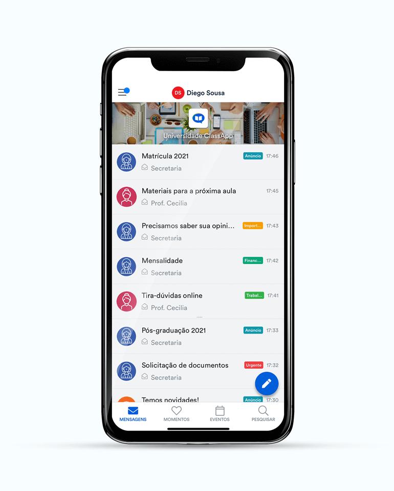 ClassApp: caixa de entrada do aplicativo de comunicação