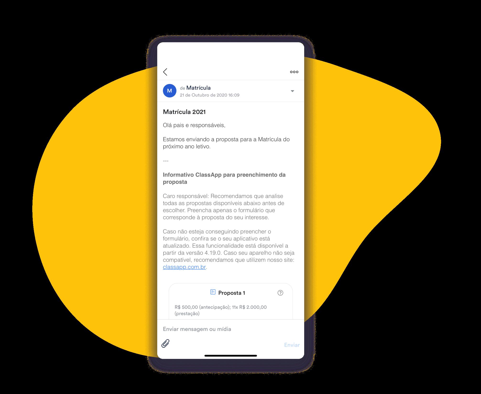 Envio de propostas no ClassApp