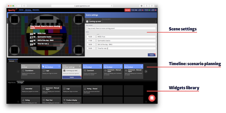 Sparkly live streaming studio view - timeline and scene settings