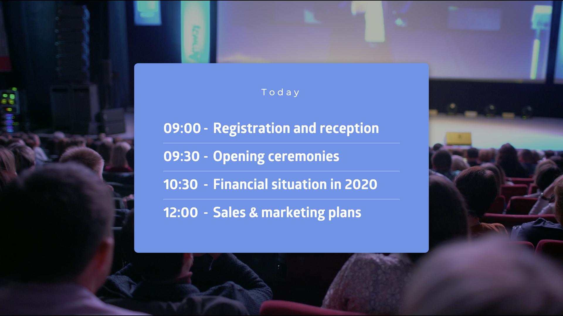 Present event agenda