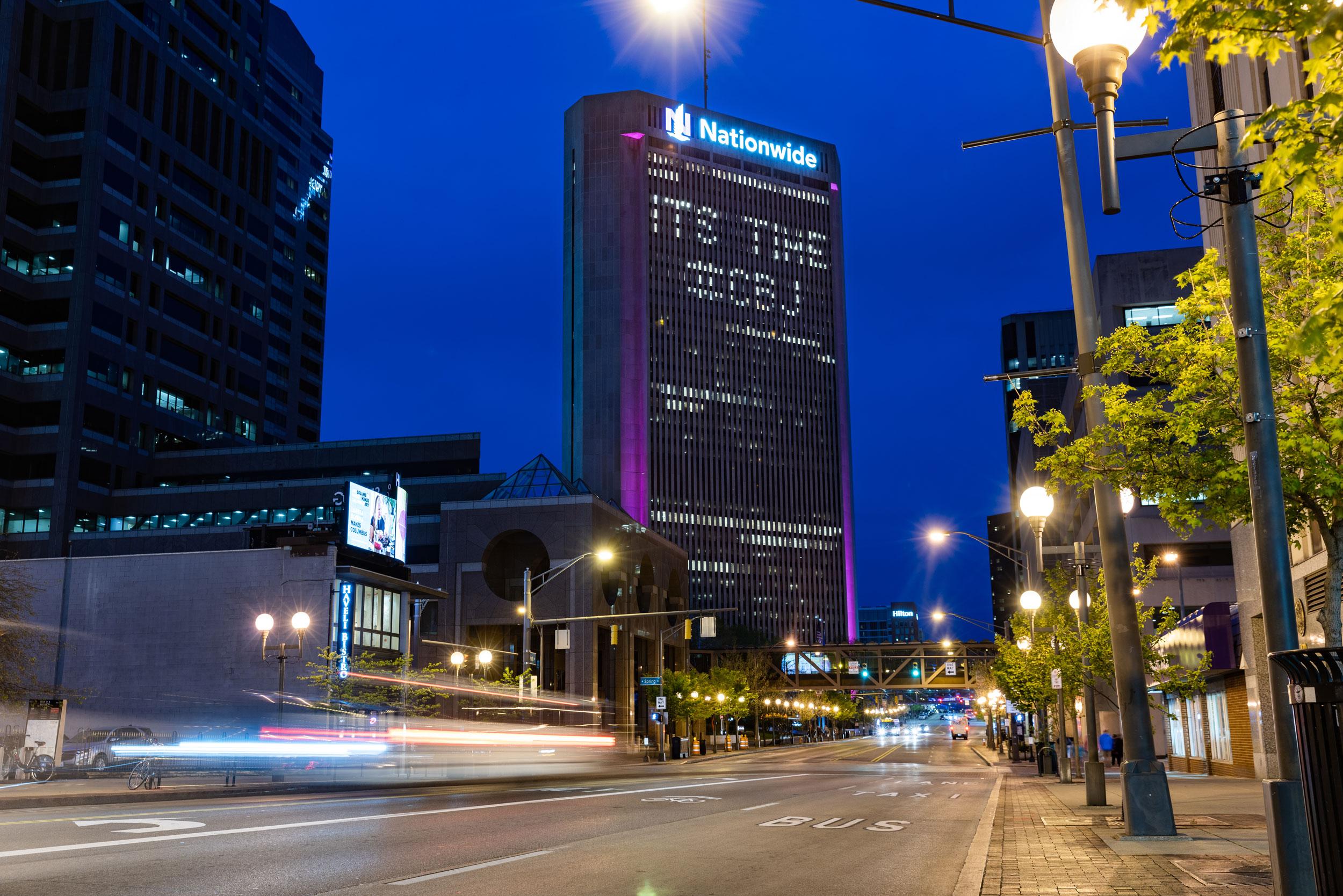 Nationwide, Columbus, Ohio, CBJ, night, long exposure