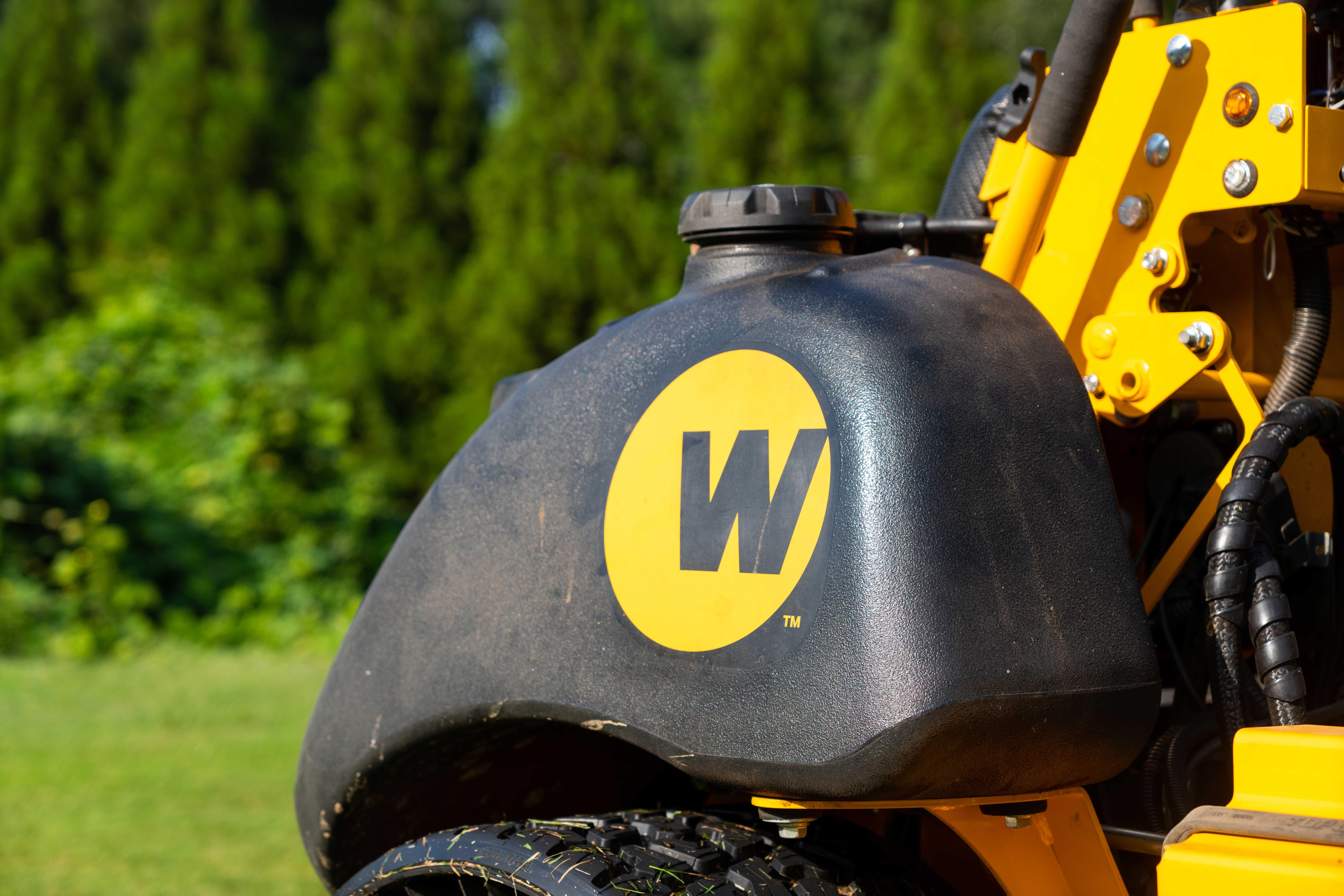 Wright logo on side of mower