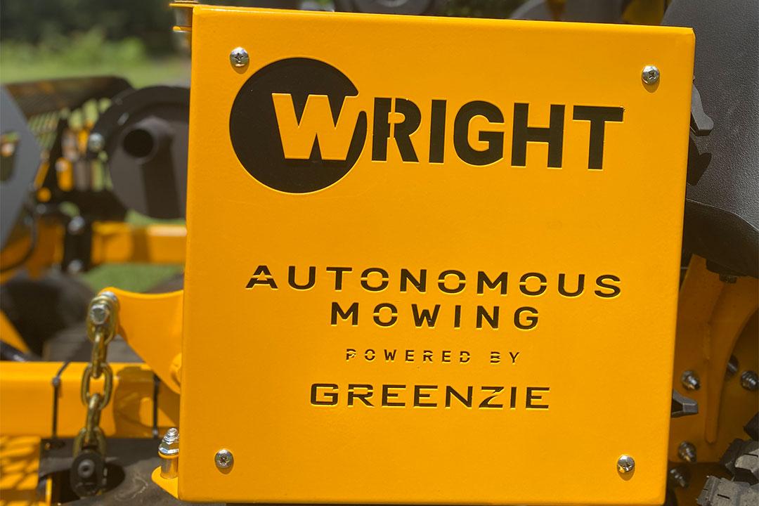 Wright logo on mower