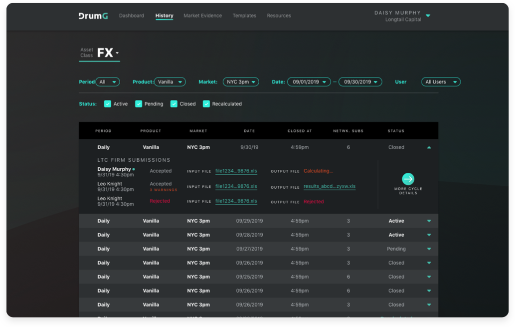 A screenshot of the order history in the Titanium product