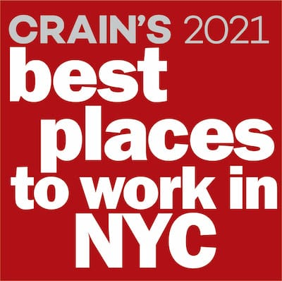 Crains 2021 Best places to work in NYC award