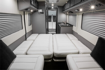 Interior of the Embassy RV sleeping configuration @2019 Embassy / SVO Group Inc.