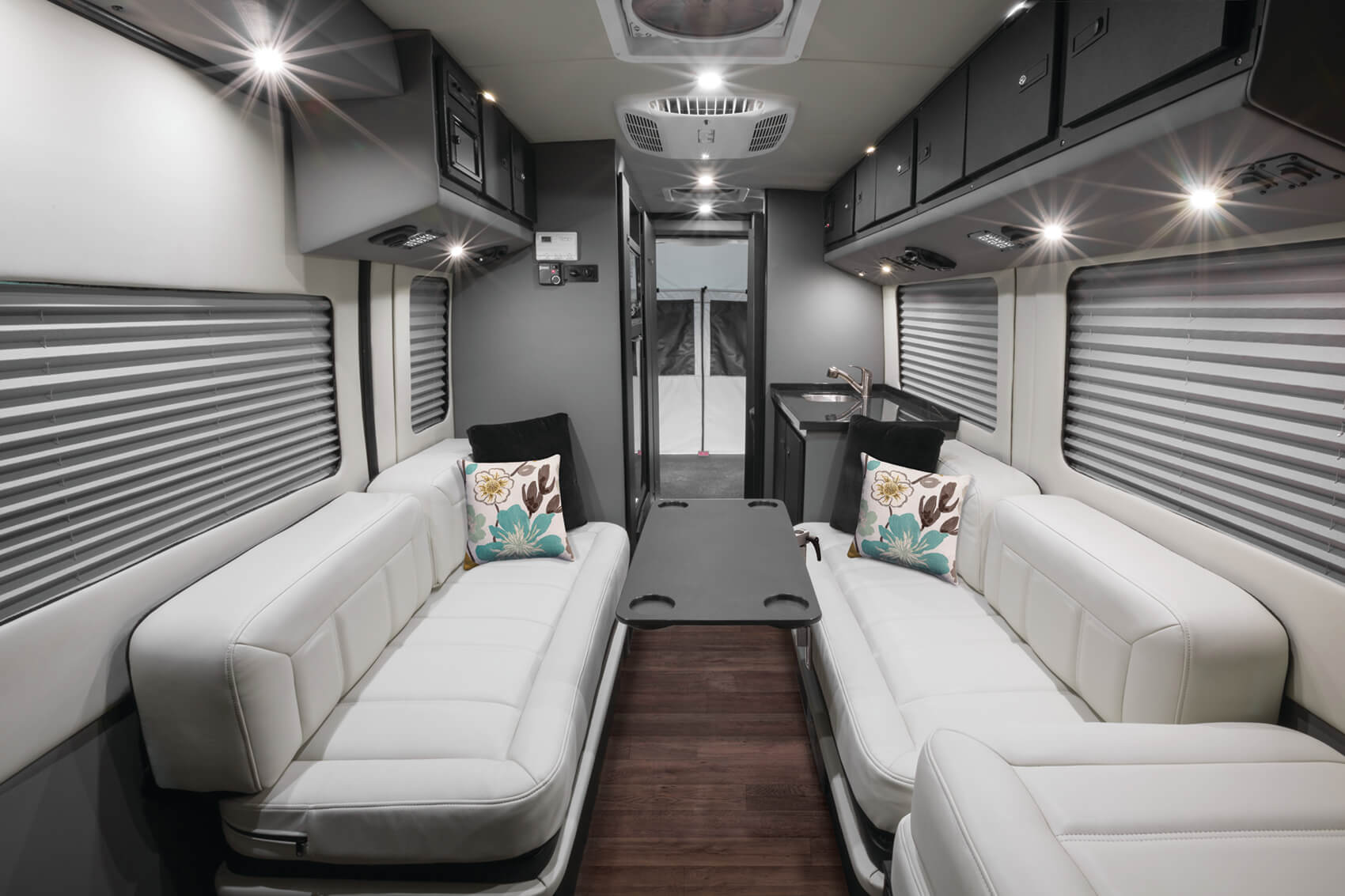 Styled interior of the Embassy Class B RV - @2019 Embassy / SVO Group Inc.