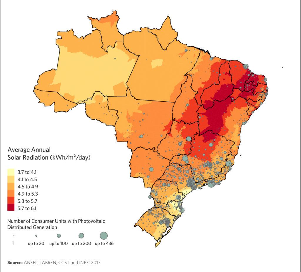 Annual solar Radiation in Brazil