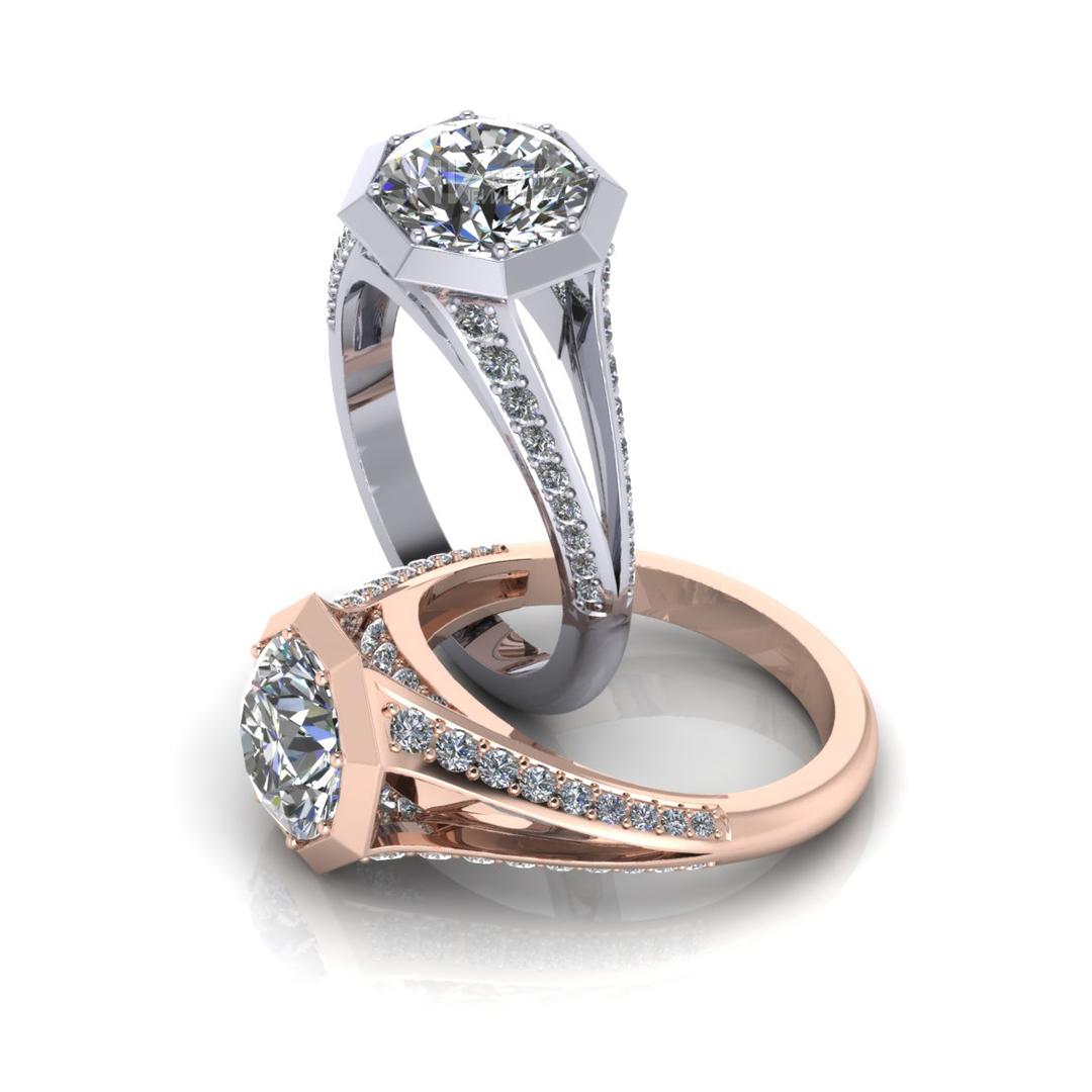 Split Octagon Engagement Ring