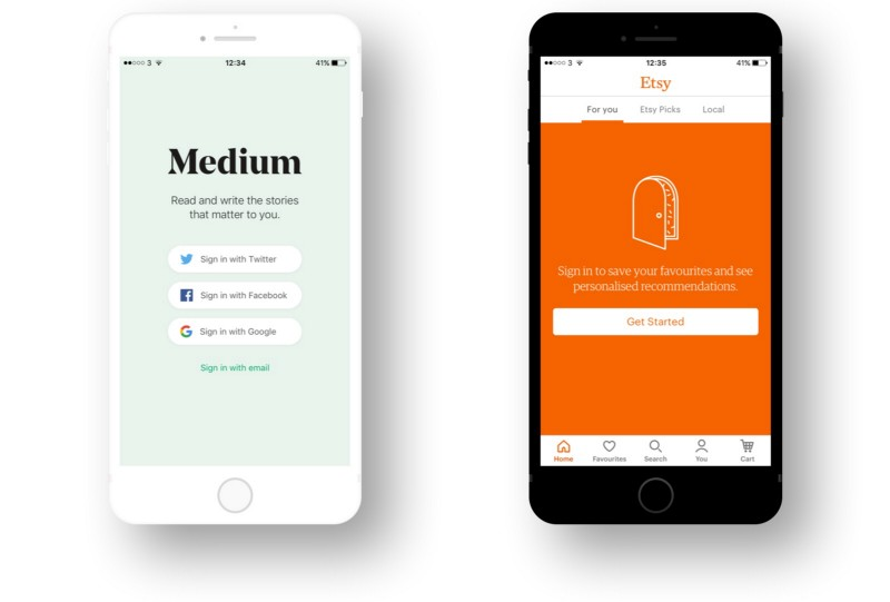 The Medium app and the Etsy app.