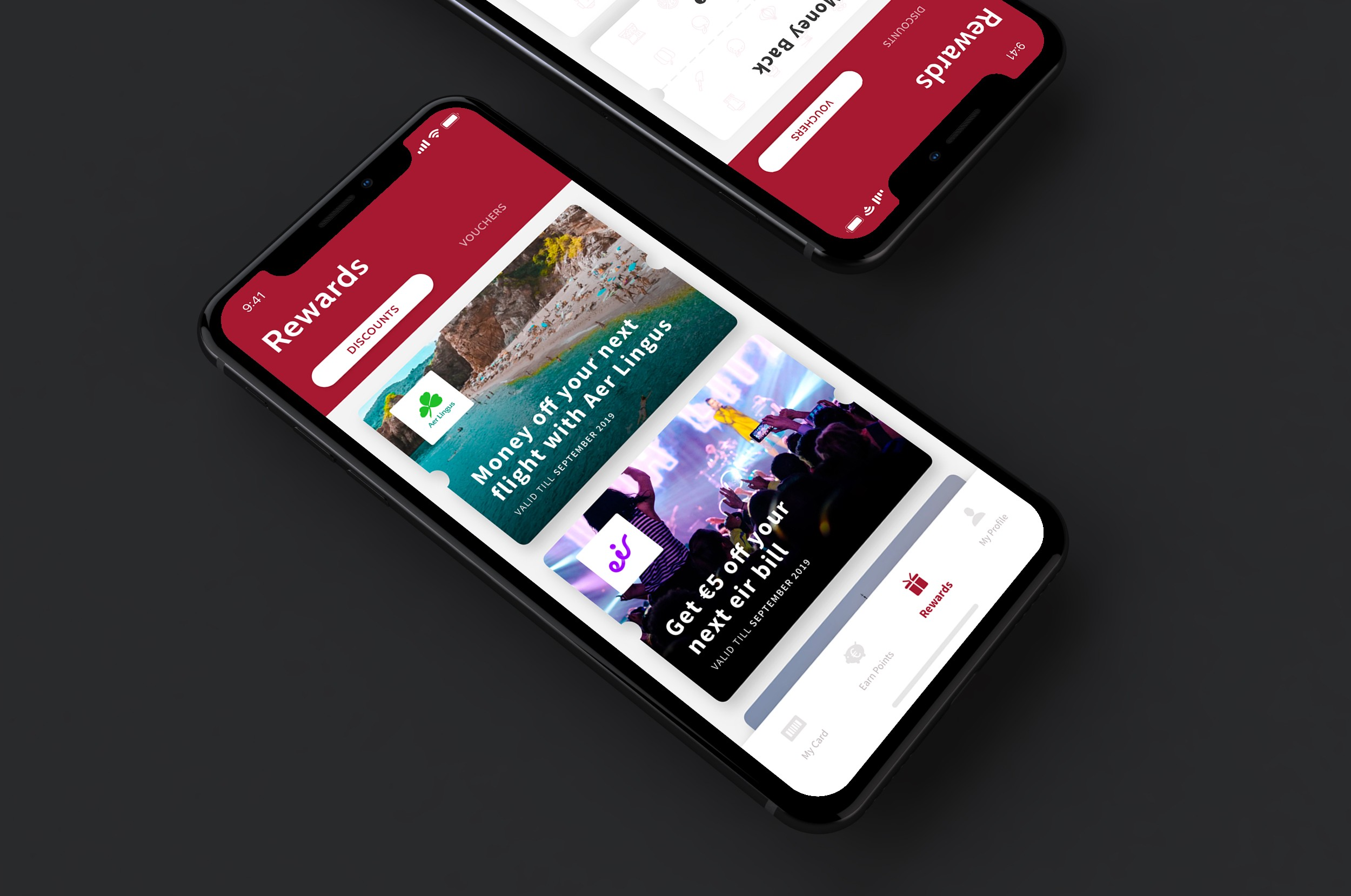 A mockup of the RealRewards app.