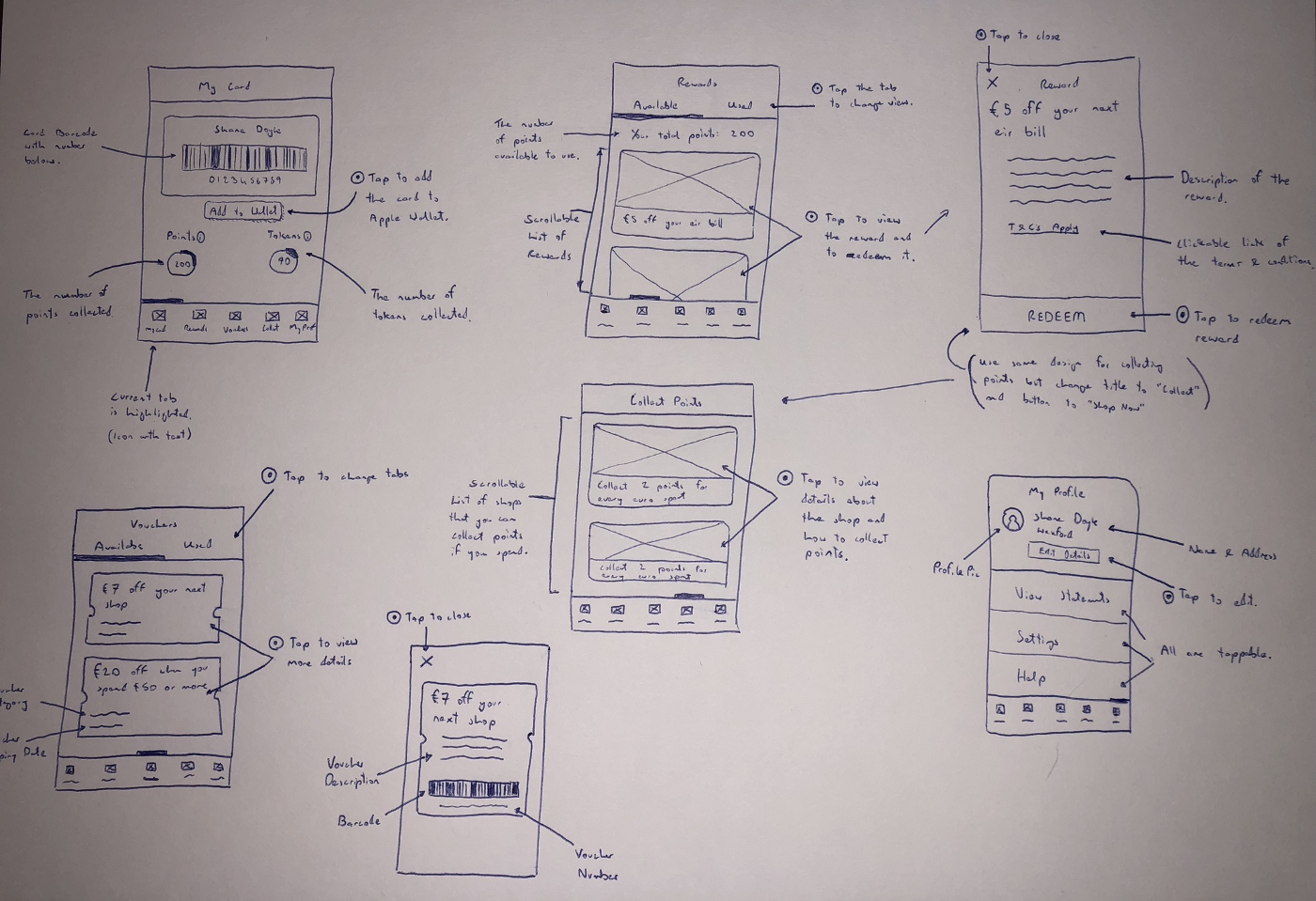 Pen and paper sketches of the app.