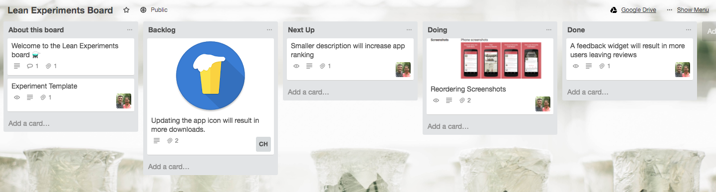 Lean Experiments Trello Board