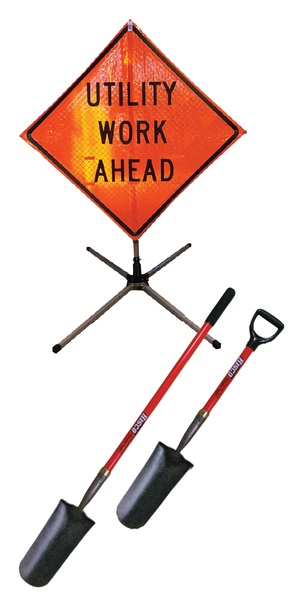 Utility Work sign and shovels