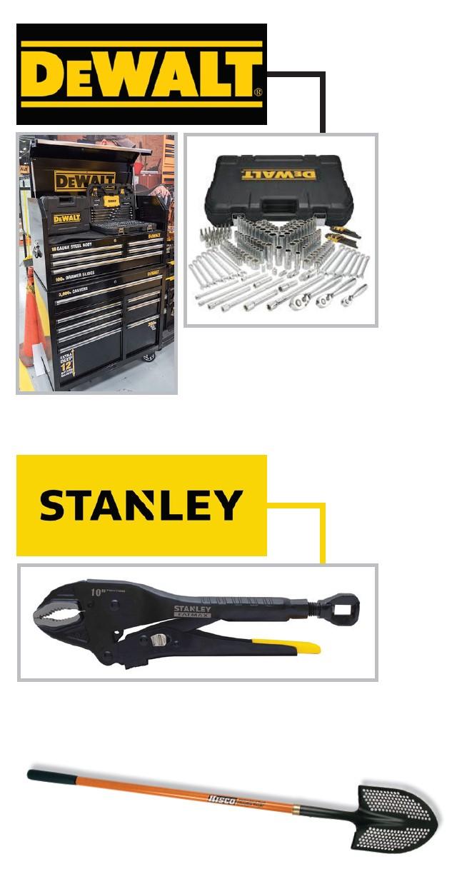 DeWalt, Stanley and Hisco tools