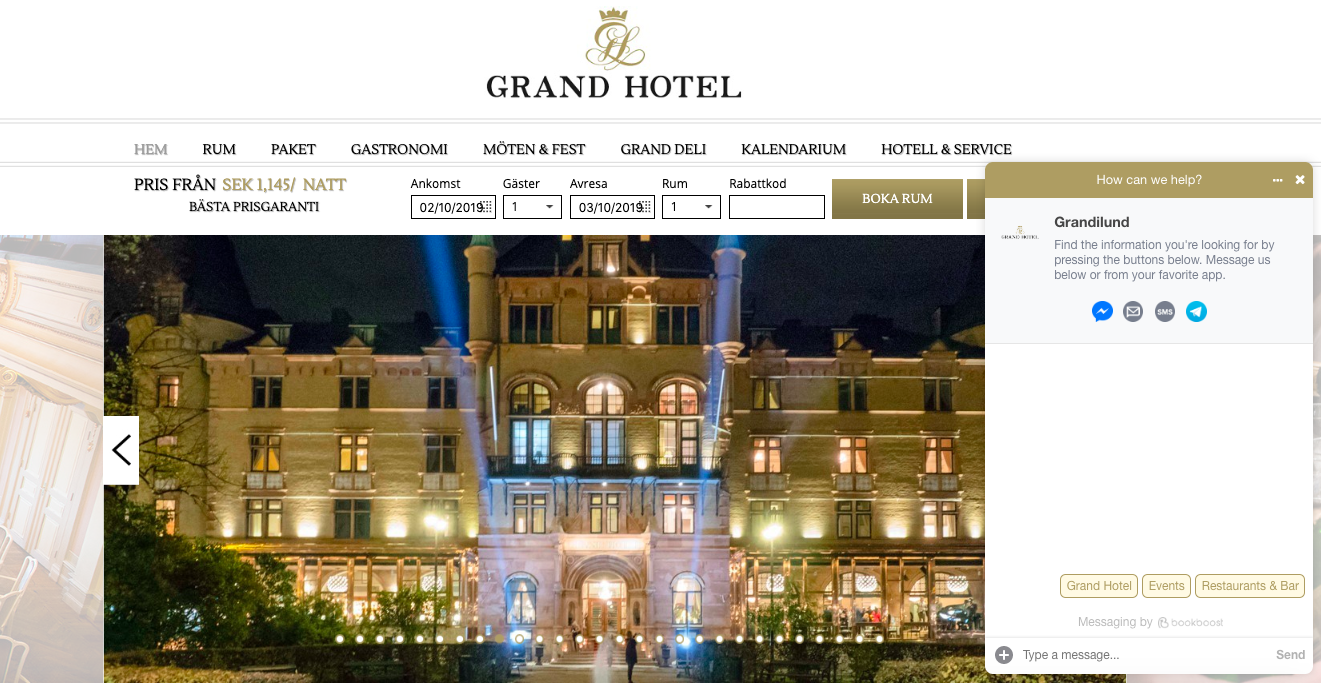 Bookboost Omnichannel Website Chat - Grand Hotel Lund