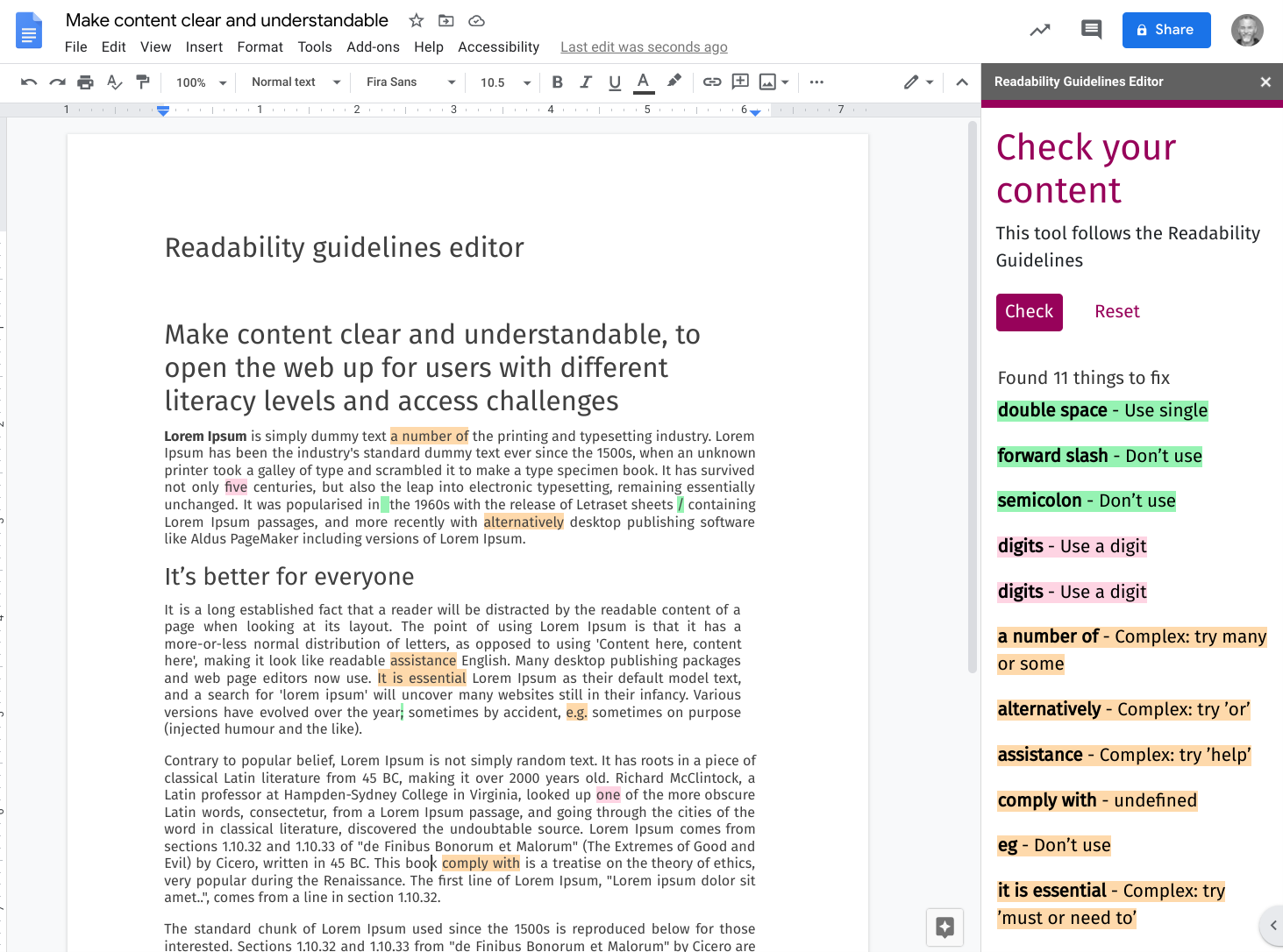 Screenshot of readability guidelines editor