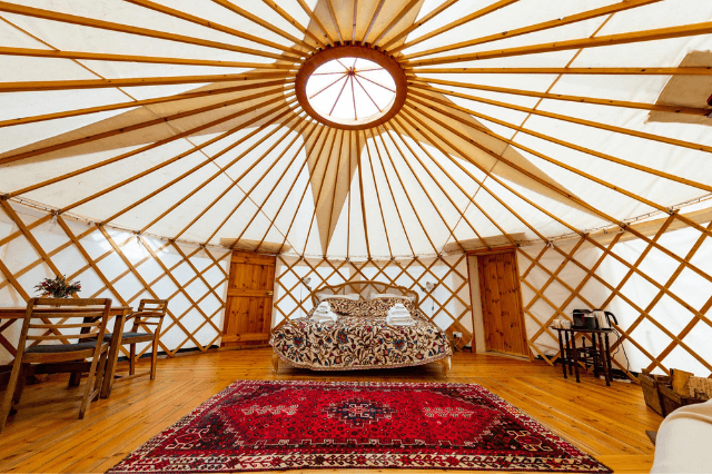 Staycation glamping yurt