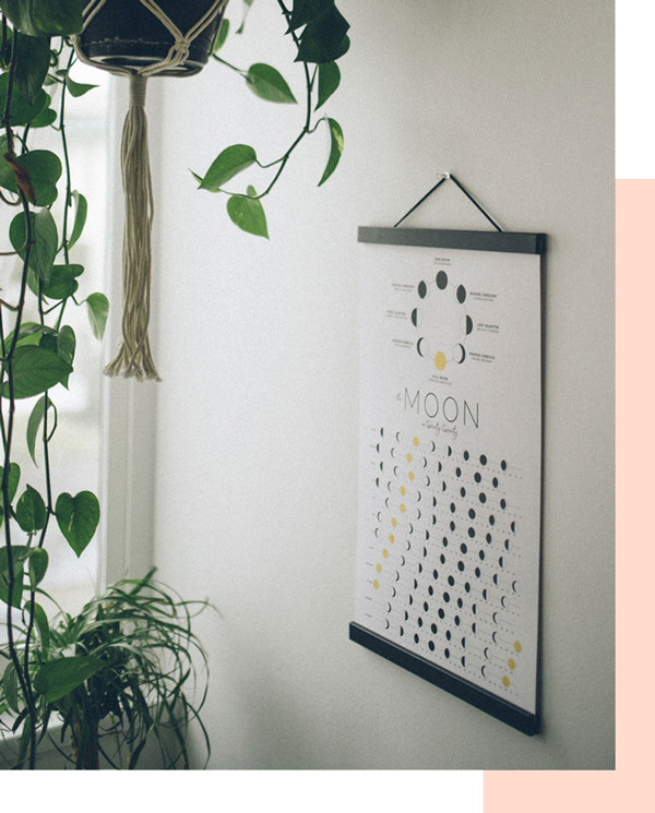 Cultivate cosmic magic with this 2020 moon calendar, featuring intention-setting cues specific to the eight major lunar phases. Hang it in your office, living room or bedroom to serve as a reminder that the supernatural is just outside your window, simply a night sky away.