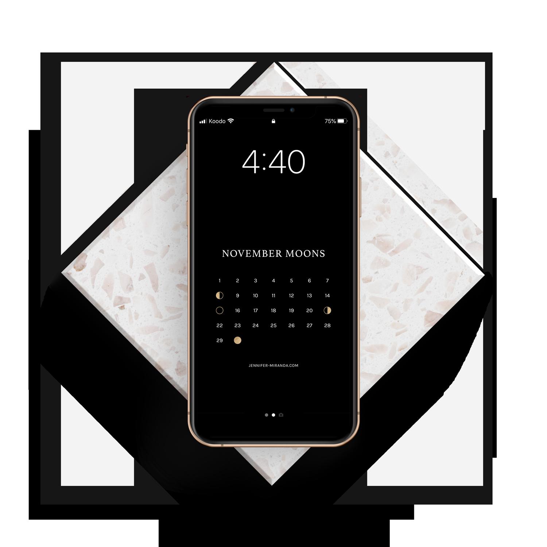 Mockup of a free moon calendar phone wallpaper.