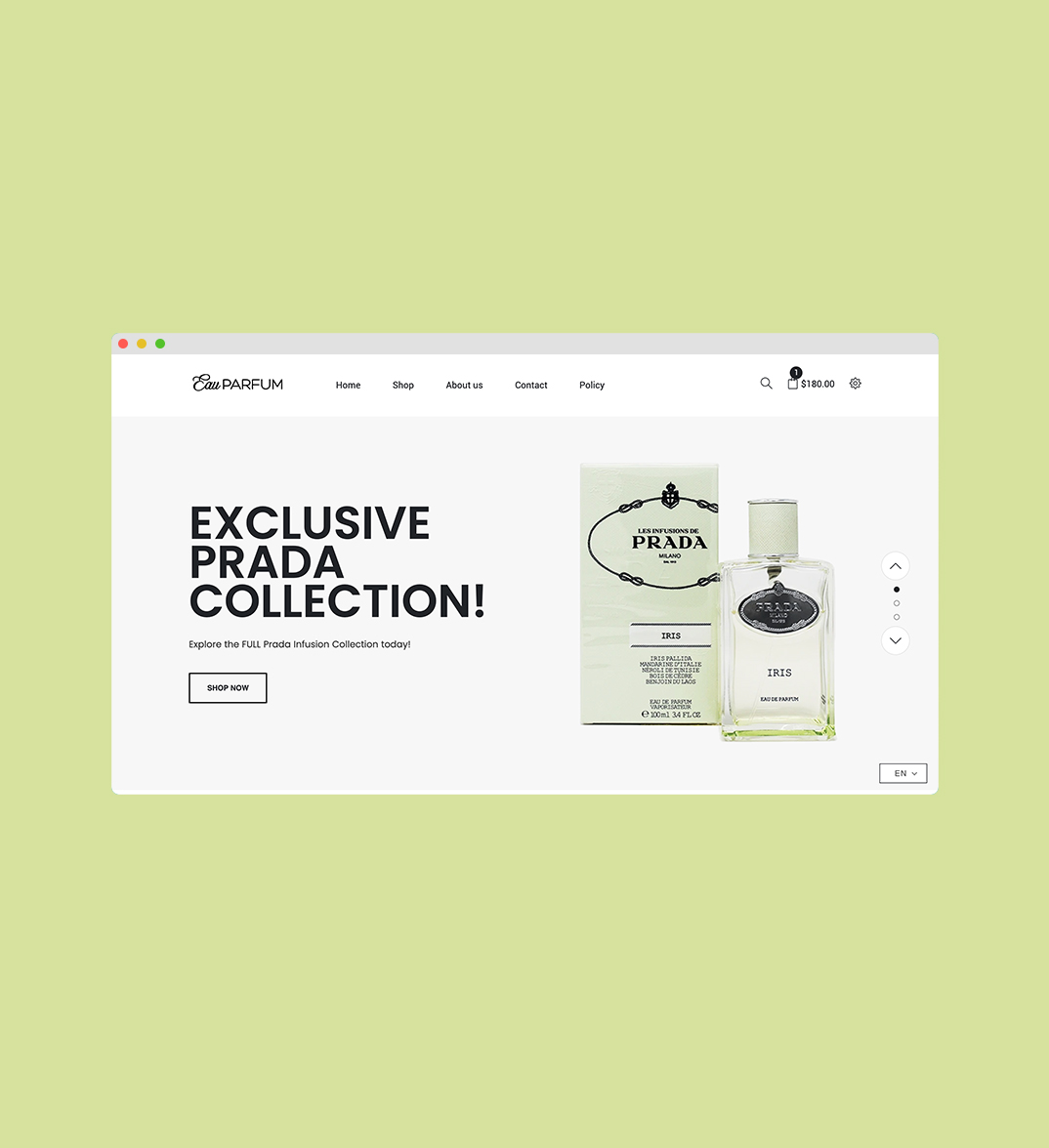 Eau Parfum Website Design