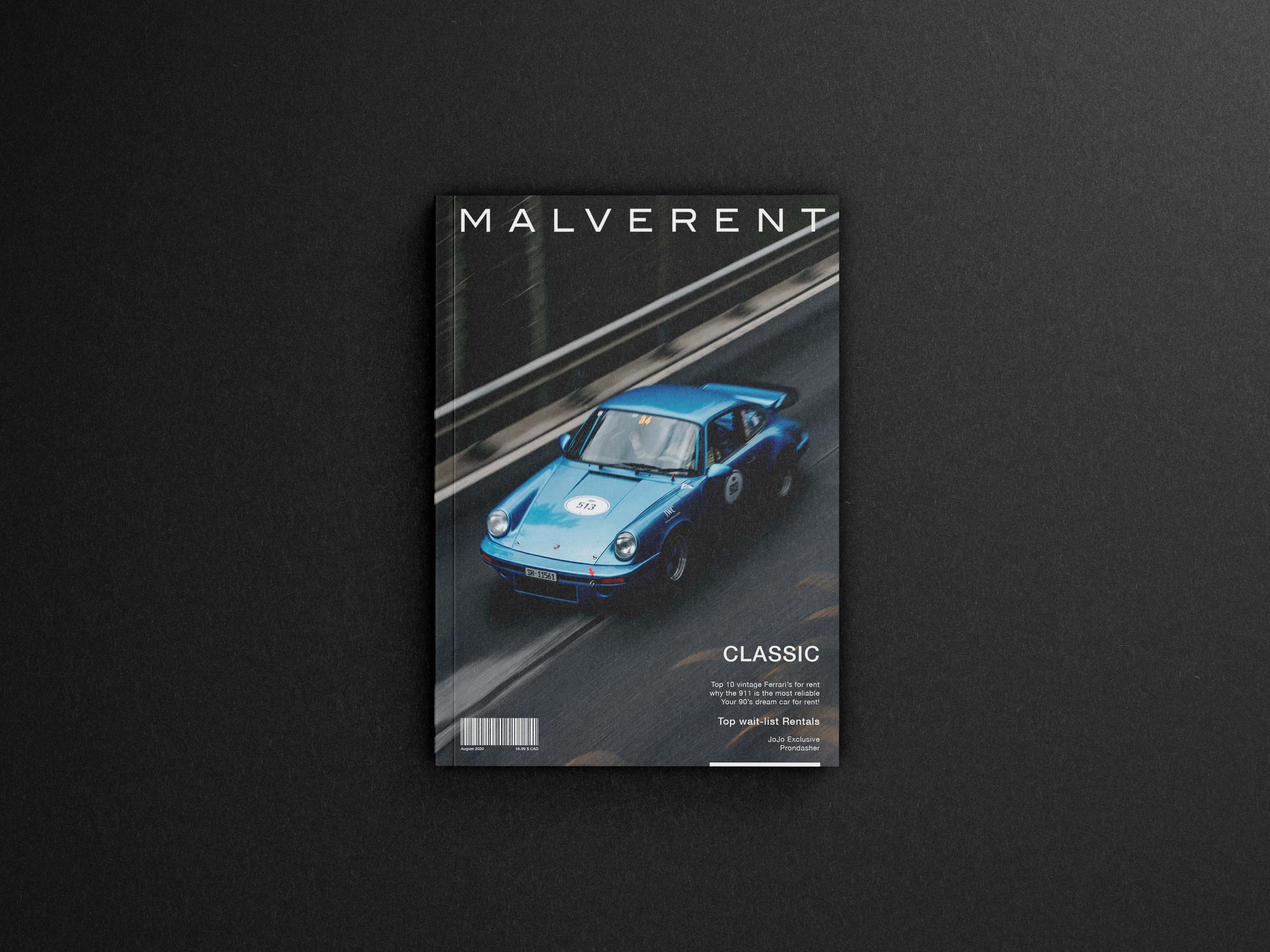 Malverent is an Editorial Car magazine cover concept aimed to target a niche market of car enthusiasts focused on vintage and exclusive cars for rental across the North American market.