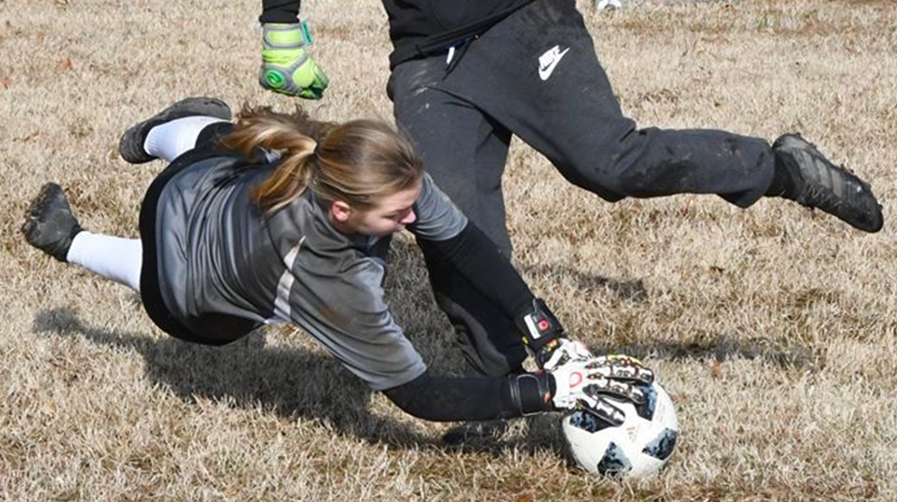 Goalkeeper on the field, in action