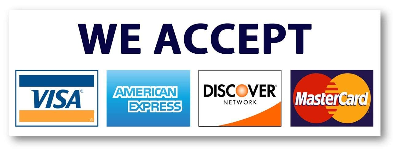 Acceptable forms of payment are VISA, AMEX, Discover, and MasterCard.