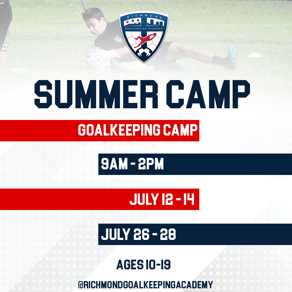 Summer Goalkeeping Camp infographic with details