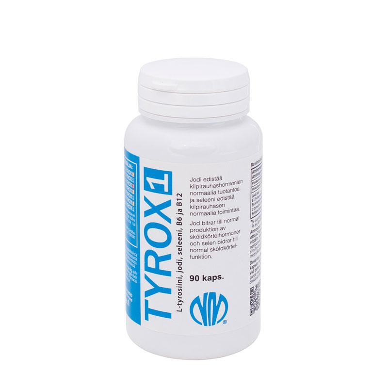 Tyrox 1 (jodi 50 µg, seleeni 50 µg, L-tyrosiini 500 mg)