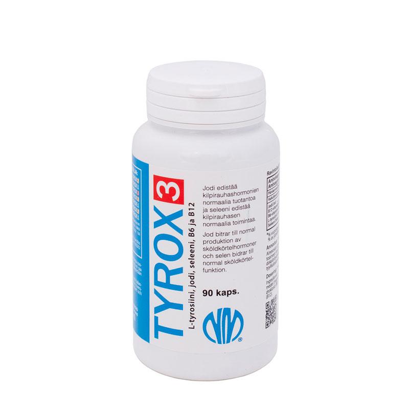 Tyrox 3 (jodi 225 µg, seleeni 50 µg, L-tyrosiini 500 mg)
