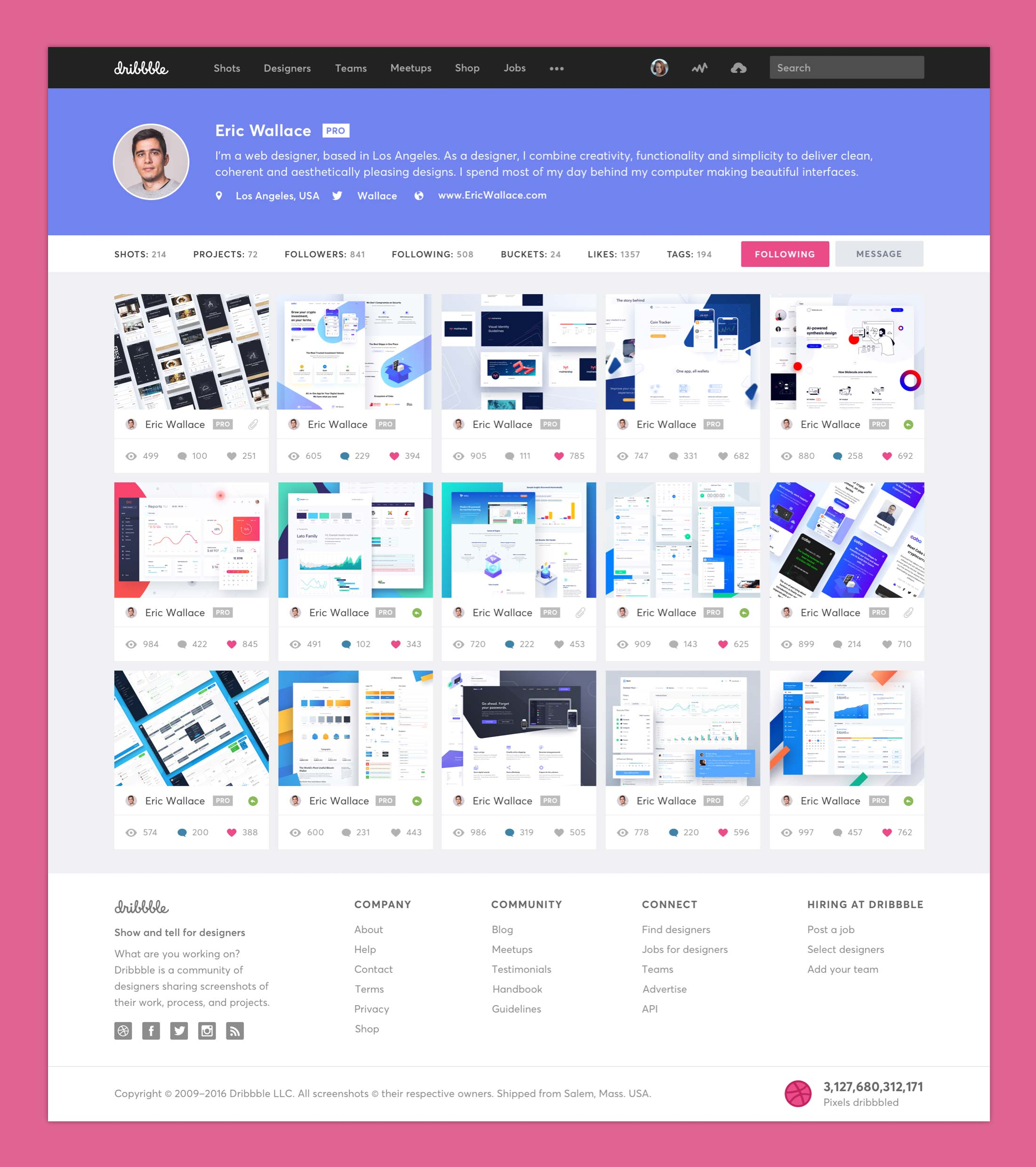 Dribbble Redesign - Profile Page