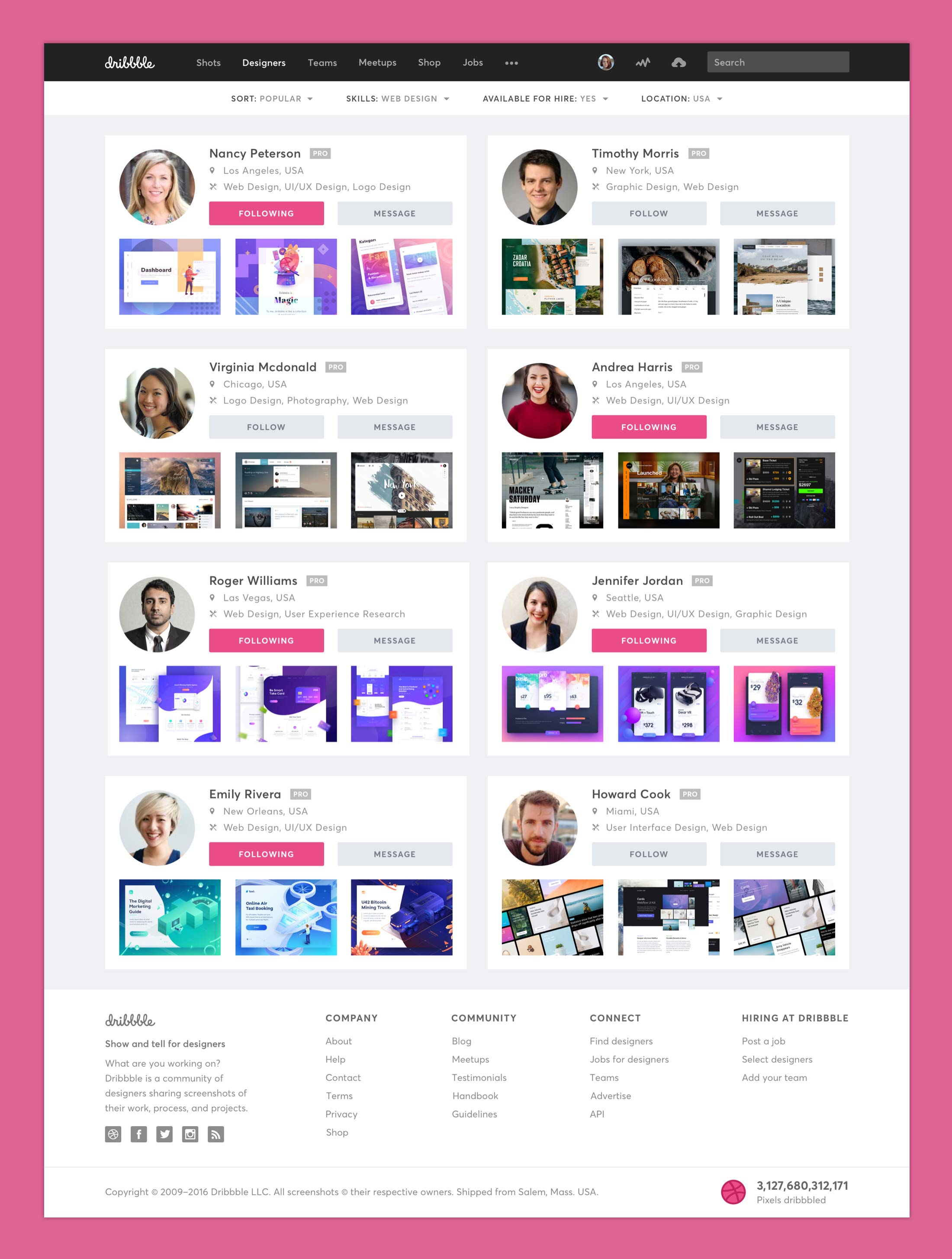 Dribbble Redesign - Designers Page