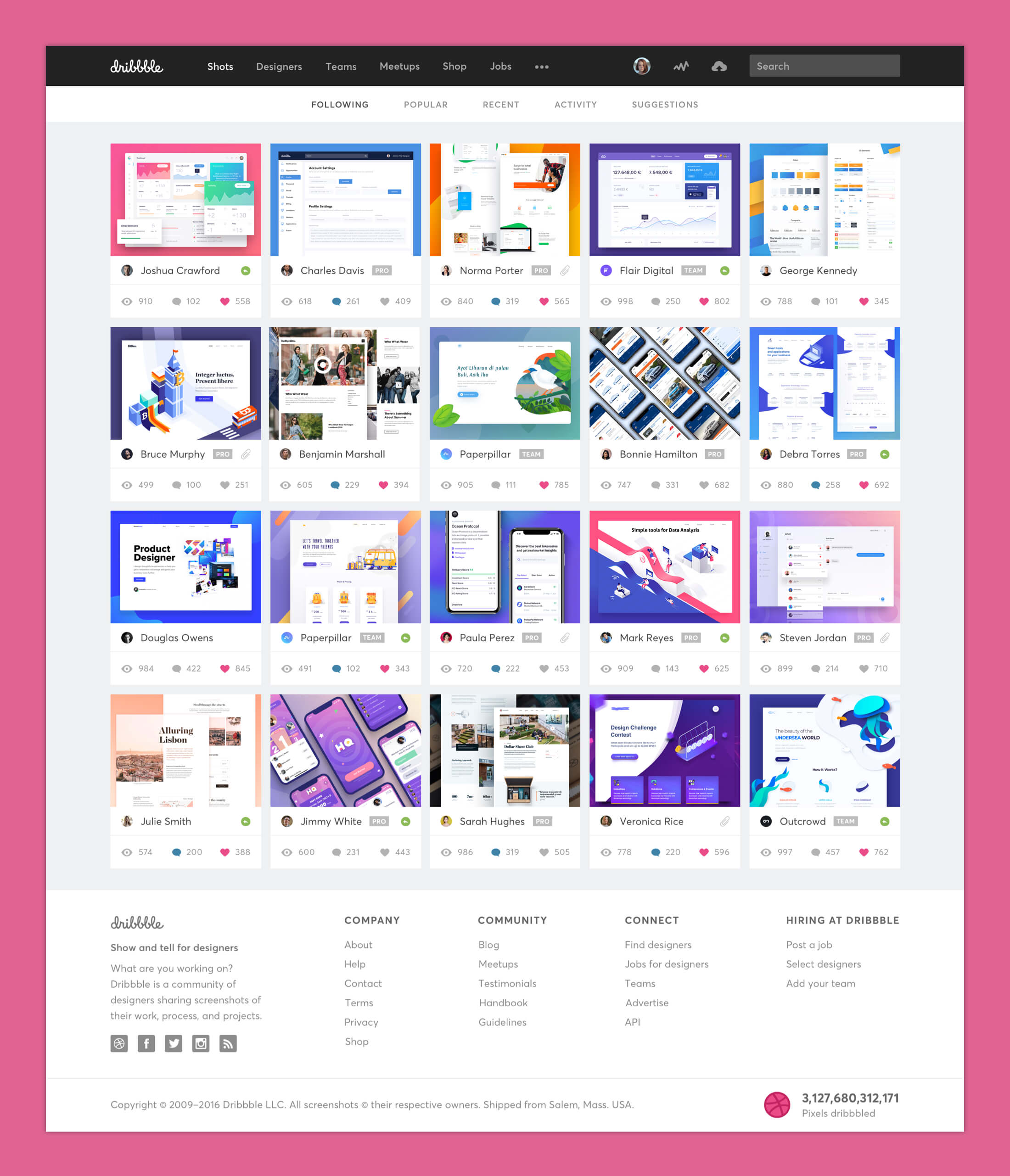 Dribbble Redesign - Shots Page